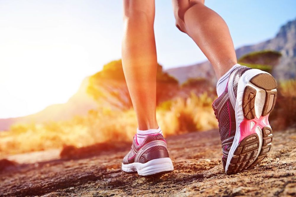 Image of a girls wearing Running Shoes
