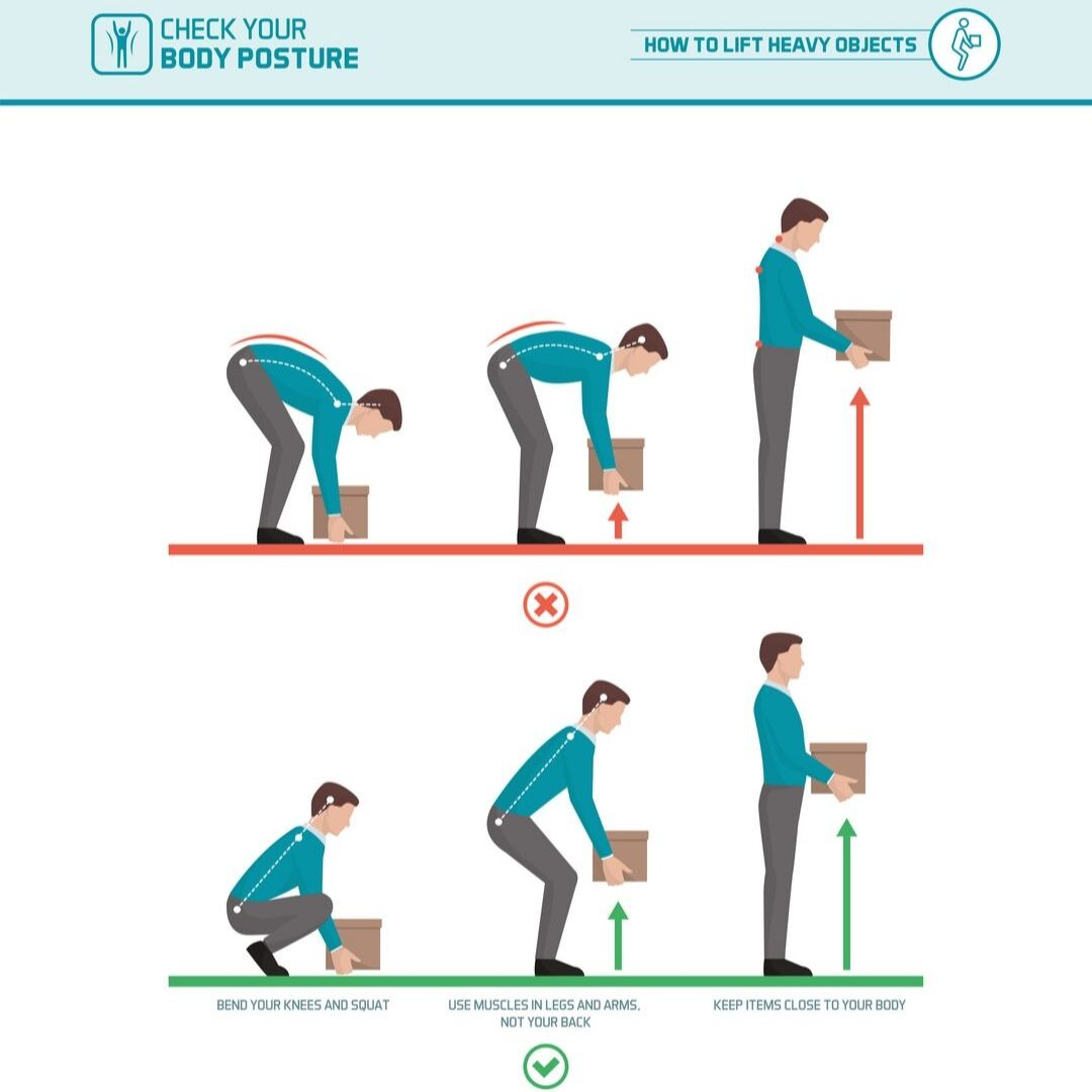 Image depicting correct lifting technique for safe work month