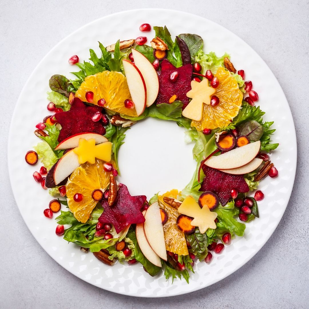 Image of Christmas themed healthy food for a healthy Christmas
