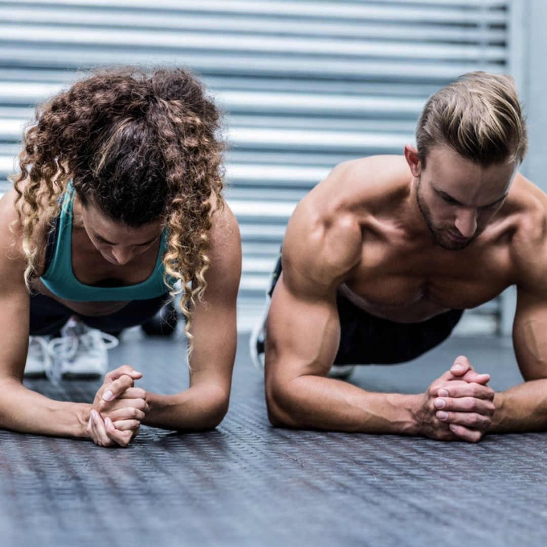 Image of a man and a woman doing a quick workout